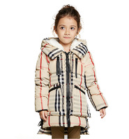2014 New Girls Down Long Jacket Children's Warm Berber Fleece Hat Clothes Winter Thick Thermal British Style Plaid Trench Coat