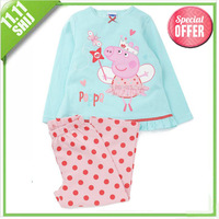 Retail 2014 Hot! peppa pig costume set. Kids clothes sets boy clothes Christmas pajamas cotton children's clothing free shipping