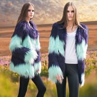 2014 female autumn and winter fur coat color block faux fur wool gradient color medium-long