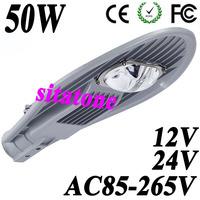 4pcs wholesale  12V 24V AC85-265V 50W LED street light 45mil Bridgelux 130lm/W chips 2 years warranty