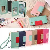 Fashion Bird Wallet Card Holder Leather Flip Case Cover for iPhone 4S 4G 4 New Phone Cases with With portable strap