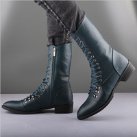 2014 New England men's leather strap Martin boots fashion casual cotton decorative winter boots men shoes
