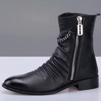 Factory Direct 2014 New England tide Martin boots Korean men's short boots side zipper decoration in helping men