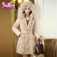 winter coat women Elegant Slim Fit Belt Thermal parka Warm Fur Collar Hoodies Overcoat Plus Size Long winter jacket XMF013