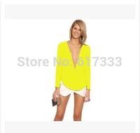 2014 Women Sexy Chiffon Blouse Slim Fit Casual Ladies 6 Color Zipper Top Shirts Tops Size S M L XL