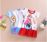 2014 children's wear short-sleeved dress ice Romance Princess Girls Kids Snow Queen,Wholesale,Free Shipping