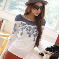 Dropshipping!2014 AutumnWomen Top  long sleeve blouse hollow out slim t shirt