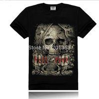 "Men's Cool 100% Cotton Black Round Neck ""Hell Time"" Skull Logo T-shirt S-XXXL"