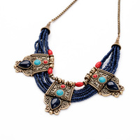 Fashion Antique Gold Bohemian Indian Tibetan Buddhism Blue Beads Turquoise Ruby Gems Statement Pendants Necklace Women Jewelry
