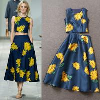 New Arrival Runway 2015 Charming Big Flowers Printed Top+Printed Long Skirt Skirt Set (1 set)  141022Z05