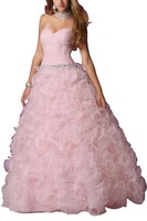 Custom Made Pink Sweetheart Rhinestone Embellished Hand Made Flower Bridal Dresses Quinceanera Ball Gowns
