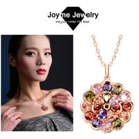 Joyme Brand 2014 New Fashion Women Vintage Jewelry Multi-color Cubic Zirconia Swiss CZ Crystal Pendant Necklace