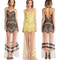 Women Long Evening Dress Mesh See-through casual Maxi dress Geometric Floral Backless Lace V-neck Free Shipping vestido de renda