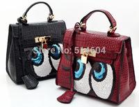 Bolsa Feminina High Quality Designer Crocodile Pattern Cartoon Eyes Sequins Platinum Handbag Women Fashion Messenger Bags Small