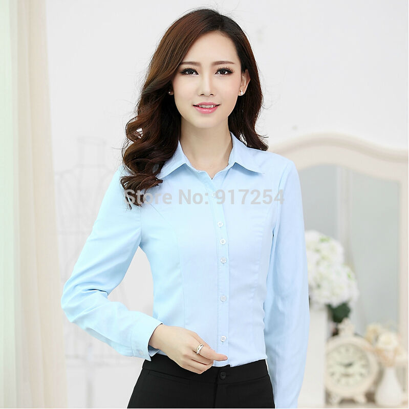 New 2014 Femininas Professional Business Work Wear Women Blouses Office Ladies Tops Clothes Blusas Shirt Female