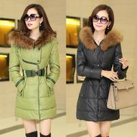 5 Colors  S-XXL 2014 New Women's Long Warm Down Jacket Women Large Fur Thickening Medium-long Winter Jacket Coat Plus Size parka