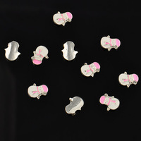 10pcs/pack  pink snowman Fashion Cute 3D Alloy Rhinestone Christmas Nail Art Tips DIY Decoration   NA107-02
