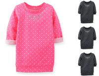 Retail brand 2014 Autumn children's long sleeve T-shirt 100%cotton red colors girls kids Polka Dot tops tees clothes freeship n