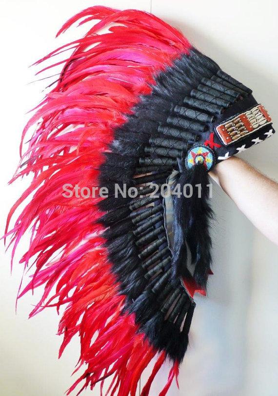 Sale Discount Cheap Long War Bonnet Headdress Feather Indian Feather Headdress Red Color Native American Warbonnet(China (Mainland))