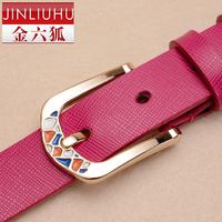 Gold strap Women women's genuine leather white belt female fashion all-match brief casual pants female belt