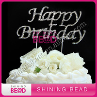 Rhinestone monogram letter cake toppers for party
