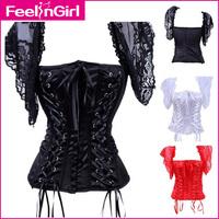Corselet 2014 Lace Corset top Sexy Women Sleepwear Bustier Lingerie Over bust Dresses 4085.D waist training corsets