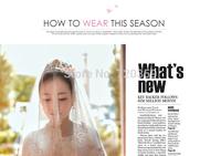 Free shipping!Very beautiful  long 3m lace with shine pcs Wedding Veil ,Wedding Accessory