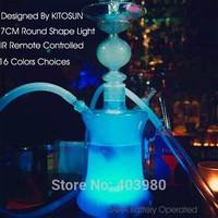 New Arrival Smoking Pipes Glass Hookah Shisha With milti-colors Led Light base , Led Glass Hookah Magical Smooking Shisha Hookah