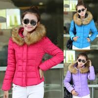 Wholesales 2014 Fashionable Women Luxury Style Short Winter Parkas Ladies Fur Collar Outerwear Winter Coat SV03 CB031093