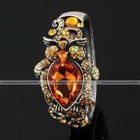Bling vogue brown topaz night owl bird crystal Rhinestone fashion chain charm jewelry hinged bracelet Bangle cuff cute plated