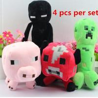4 pcs per set.Minecraft PlushToys Creeper Enderman Cow Pig Sheep Plush Doll Toys For Children .2014 christmas birthday gift