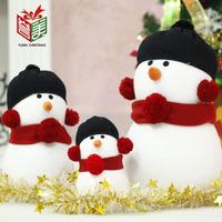Outdoor Christmas Decoration Christmas Blue Cap Snowman Christmas Snowman Doll Combination 48x25CM