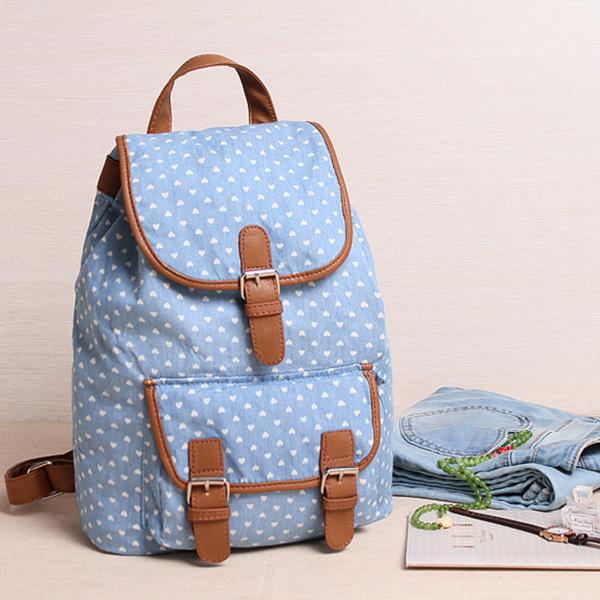 Fresh Style Heart Printing Blue Girls Cotton Rucksacks Mochila School Bags For Teenagers Casual Women Travel Bags Wholesale(China (Mainland))