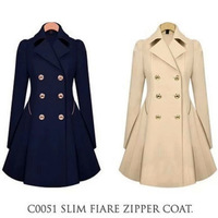 Fashion Autumn Jacket New Womens Double-breasted Coat long outwear Slim Fit Trench 2015 SF20063