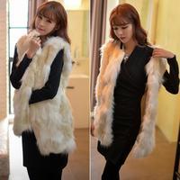 Woman Jacquard Weave Stereoscopic Cute Long Faux Fur Vest Jacket Coat # 65242