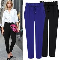 Plus size clothing trousers  spring autumn 2014 Large pants casual pants harem pants 3 color blue black khaki  6XL