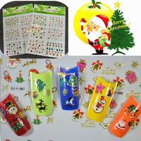 2 sets New 2014 Fashion Christmas Santa Snowman Design Nail Art Stickers Decals 3d Nail Art Decorations DIY Nail Tools #MS31