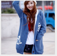 Free shipping 2014 new women's autumn and winter plus thick velvet long-sleeved knit cardigan sweater Hooded Jacket Women