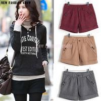 Women's Shorts 2014 Autumn Winter Fashion Bootcut Slim Thin Shorts Women Casual Woolen Female Shorts Plus Size 2031