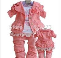 Retail+drop shipping Baby girls clothing sets 3pcs suits children fashion hoody coat+shirt+pants set 00058
