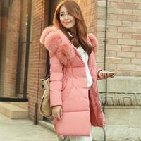 2014 winter new Korean Women medium-long Jacket sun flower big fox fur collar down jacket padded KDC003