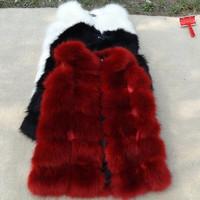 2014 fur one piece medium-long patchwork sweater vest women's fox fur vest