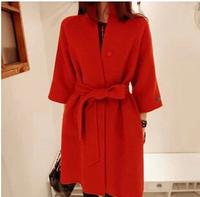 New 2014 wool coat women's autumn winter wool jacket with belt fashion red wool overcoat outerwear cashmere coat women s091