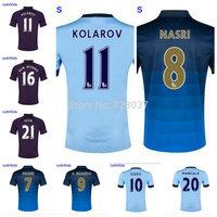 New Fashion Manchester Youth Kun Aguero Silva Jovetic Yaya Toure Milner Purple Blue Soccer Jersey 2014-2015 Kids Nasri Jersey