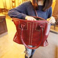 Big bags fashion vintage black 2014 women's handbag rivet fashionable casual shoulder bag messenger bag