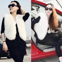 Fluffy V Neck Short Vest Faux Fur Luxuries Imitation Fur Sleevelesss Jacket # 65246