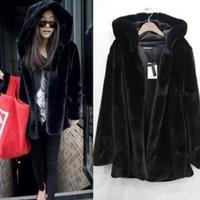 Oversized Thicken Hoodie Faux Fur Coat Pure Color Imitation Fur Coat Jacket # 65266