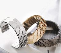 Min.Order $8.8(Mix Order) New Women Fashion Bracelet Jewelry Exquisite Dazzling Scale Piece Alloy Metal Cuff Bracelet FB0241