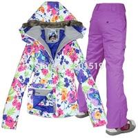 FREE SHIPPING! Fashion White Flower Thick Lady Women Ski Suit Sets Winter Snowboard Ski Jacket+Pants Waterproof Breathable