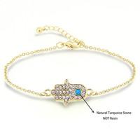 Pulseira Masculina Gold Plated Hamsa Hand Of Fatima Bracelets Women Fashion Accessories